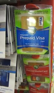 Prepaid Visa Card yang dijual di sebuah supermarket di Austin, Texas, Amerika. (Foto: Yudha PS)