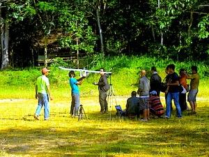 Persiapan penerbangan Drone Desa oleh tim Drone Desa dari Institut Pertanian Bogor (IPB). (Foto: Yudha PS)