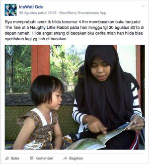 Salah seorang siswa SMK Karya Putra Manggala tengah me-prabuhi-kan seorang anak berusia 4 tahun. (Foto: SMK Karya Putra Manggala FB Group)